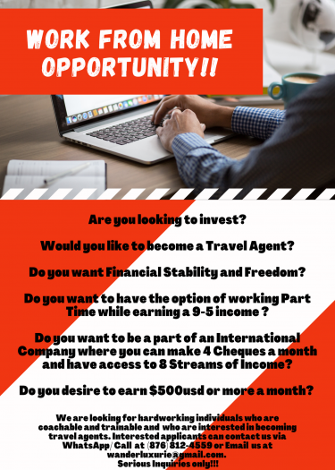 WORK FROM HOME OPPORTUNITY !!!