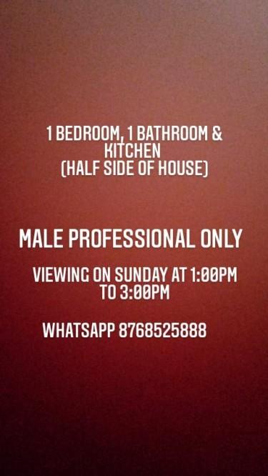 1 Bedroom, Bathroom & Kitchen For Rent (half-side
