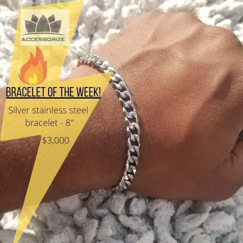 Silver Stainless Steel  Bracelet- 8