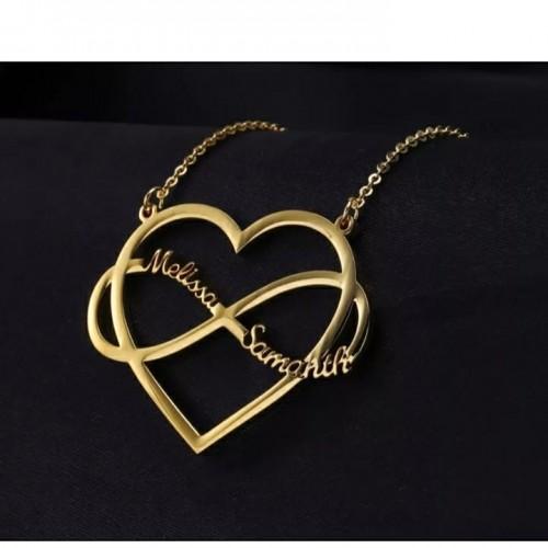 Heart Infinite Loop Name Necklace