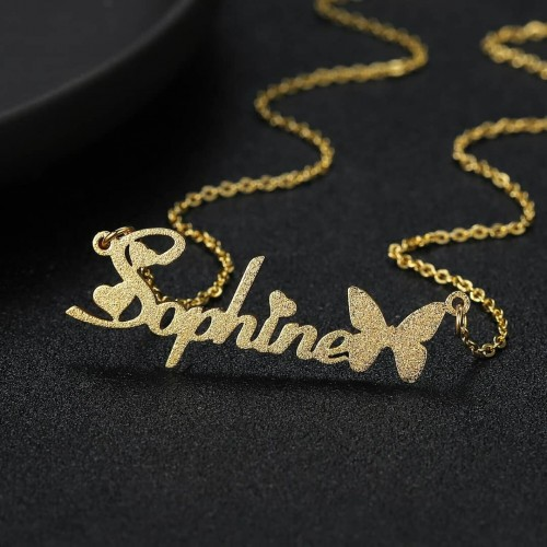 Frosted Style Customized Name Necklace
