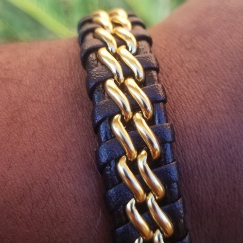 Leather Stainless Steel Bracelet With Magnet Clasp