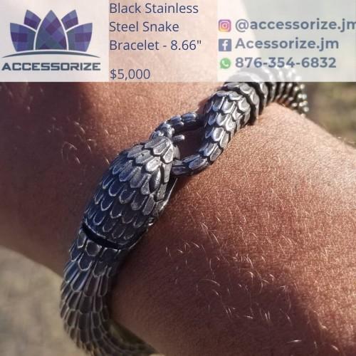 Stainless Steel Black Snake Bracelet