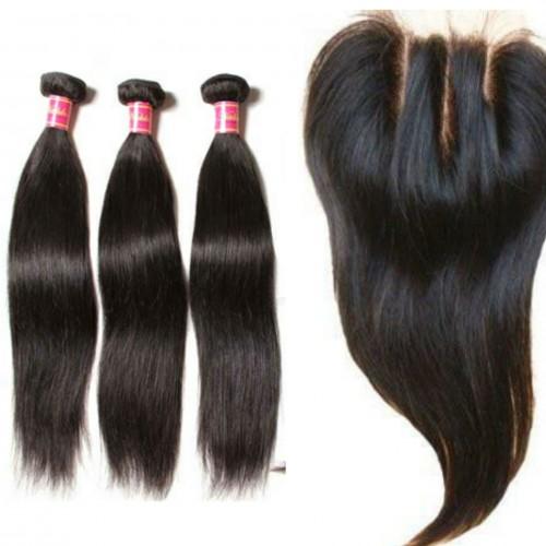 Unprocessed Human Hair Bundles With Closure