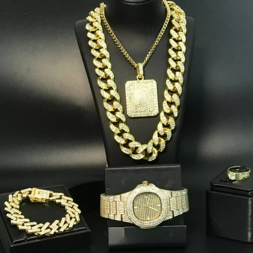 5 Piece Iced Out Jewelry Set