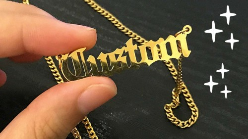 Old English Style Personalized Name Necklace
