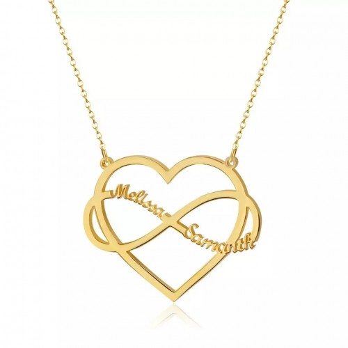 Heart Infinite Loop Custom Name Necklace