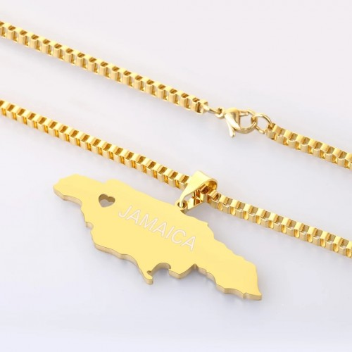 Customized Any Name Map Of Jamaica Necklace