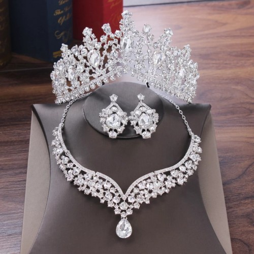 Crown Necklace And Earrings Jewelry Set
