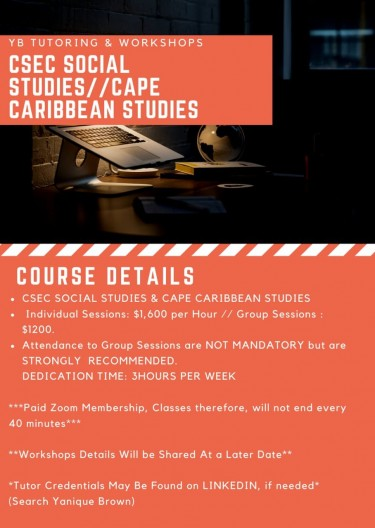 Tutor For CSECSOCIAL STUDIES & CARIBSTUDIES