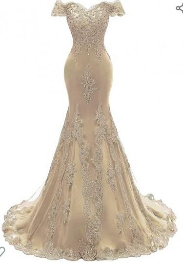 Light Gold Size 14 Wedding Dress, Royal Blue 10 Go