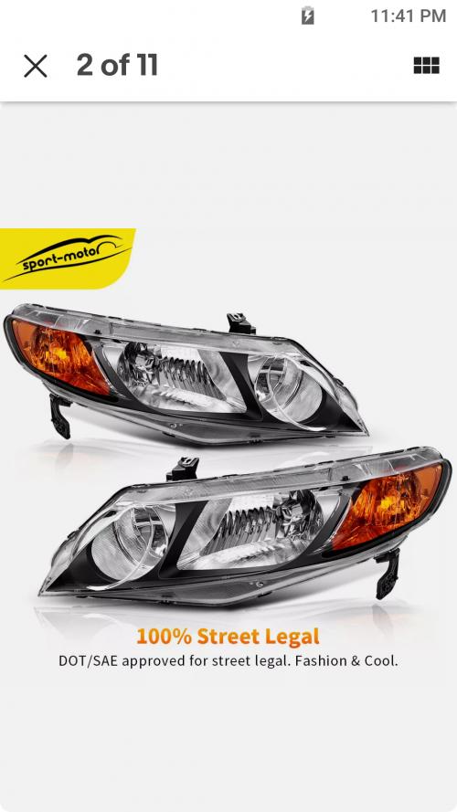 Honda Civics Headlamps 2006-2011