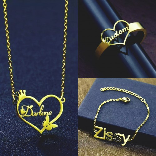 Customized Necklace, Bracelets And Ring Set