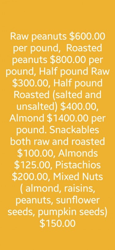 Roasted, Salted And Raw Peanuts Or Pistachios