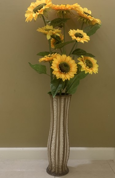 Artificial Flowers With Ceramic Vase