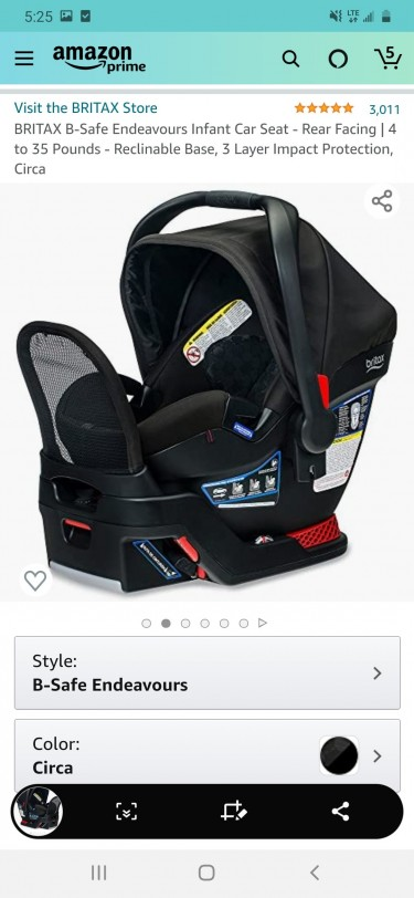 BRITAX B-SAFE ENDEAVORS INFANT CAR SEAT 4-35 Lbs