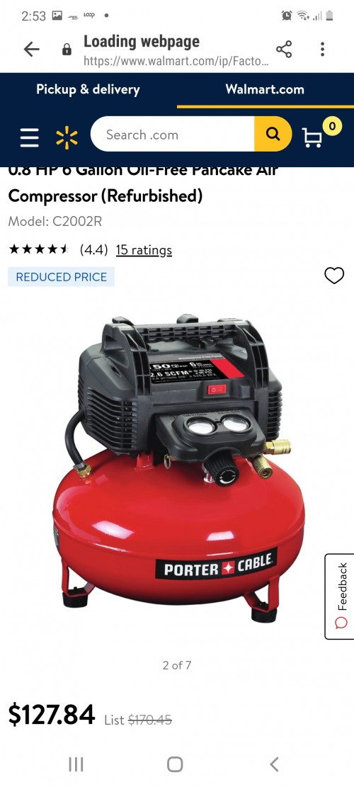 Porter-Cable C2002R 0.8 HP 6 Gallon Oil-Free Panca
