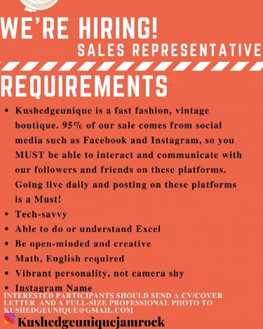 Seeking A Full Time Sales Representative