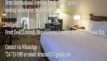 Hotel Jobs: Housekeepers, Front Desk Etc