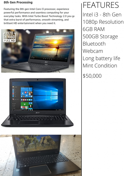 Acer Laptop 6gb Ram And Intel I3 8th Gen