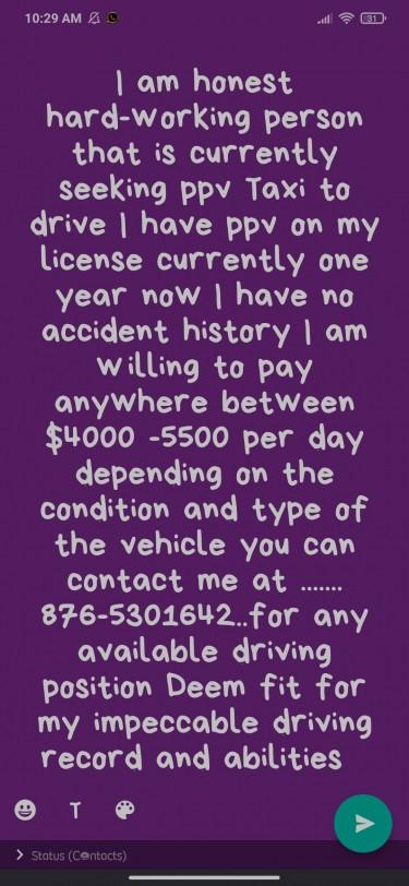 I Am Seeking A Taxi To Drive