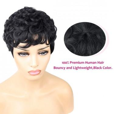 VCK Black Short Curly Human Hair Wigs Pixie Cut