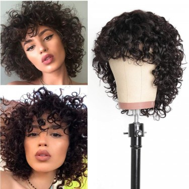 Pixie Cut Short Curly Human Hair Wigs