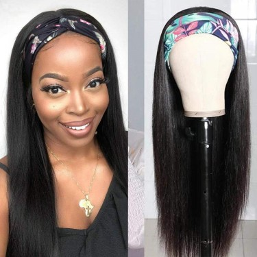 Headband Wigs Human Hair Straight