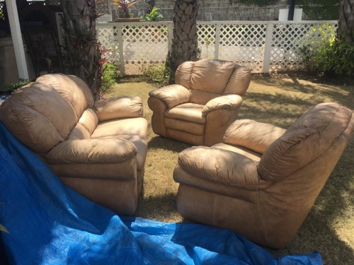 3 Piece Beige Leather Sofa Set