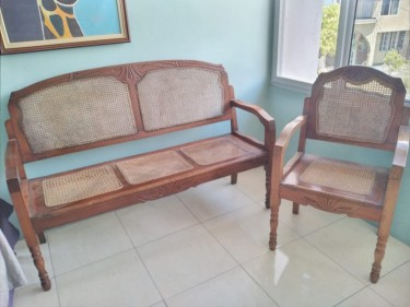 Antique Cane Chairs Matching 3 Seater And1 Seater