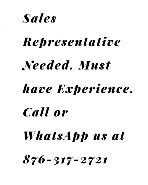 Sales Representative Needed