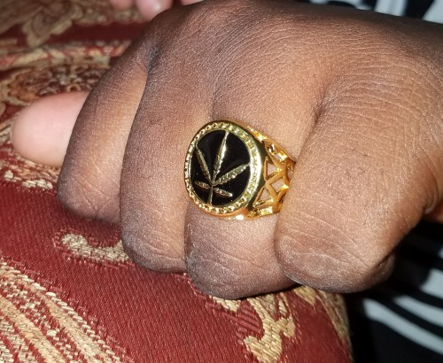 Man Weed Stainless Steel Ring