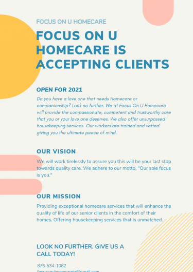 Accepting Seniors/Children/ Disabled Clients  Healthcare Half Way Tree
