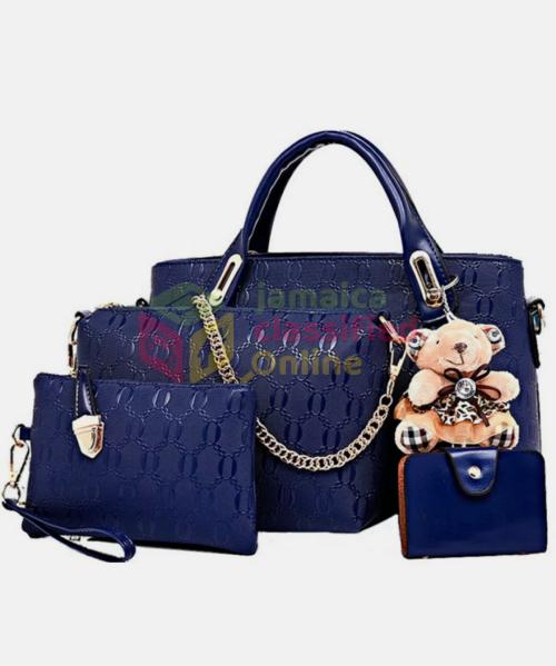 Blue Women Leather Design 4pes Handbag 3/7