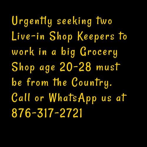 Live-in Shopkeeper Needed