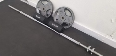 20 LB Barbell Weights Set Of 2 + Chrome Barbell