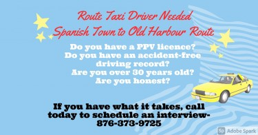 Route Taxi Driver Required