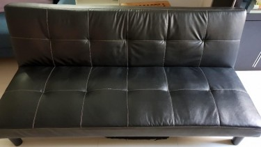 Blacked Leather Sofa Bed
