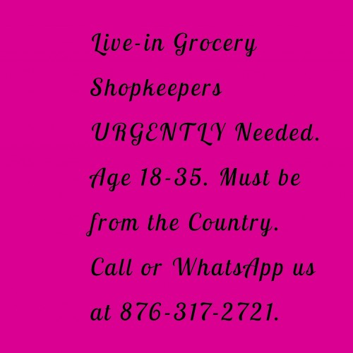 Live-in Shopkeeper Urgently Needed.