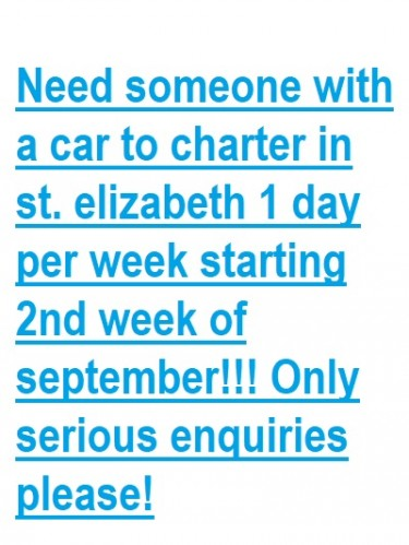 Need Someone With A Car To Charter 1 Day/week