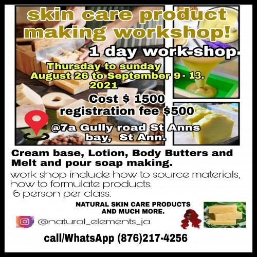 Hand Craft Skin Care Product Workshops