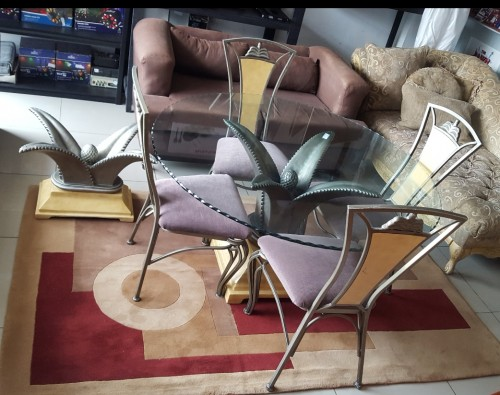Dining Set 210816 Chairs Round Glass Table