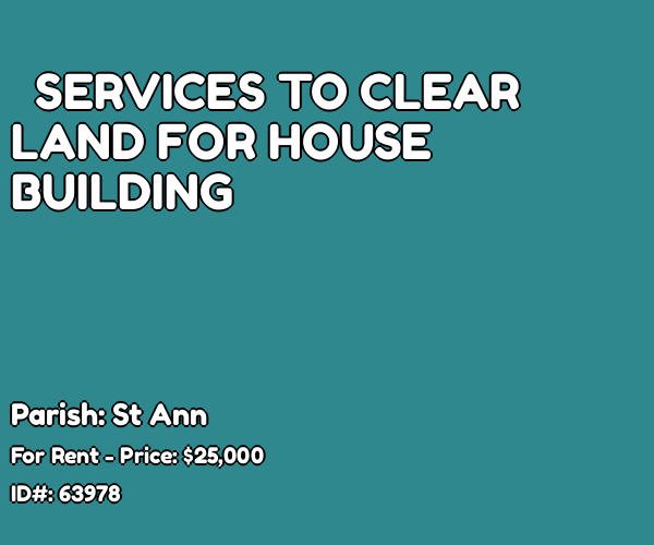 SERVICES TO CLEAR LAND FOR HOUSE BUILDING for rent in OCHO